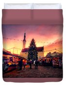 Incredible Christmas Market In Tallinn, Estonia Duvet Cover