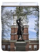 Independence Hall And Commodore Barry Duvet Cover