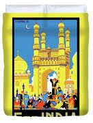 India, Castle, People, Street Duvet Cover