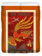 India, China And Japan, The Bird Of Paradise Countries - Air France Vintage Airline Travel Poster Duvet Cover
