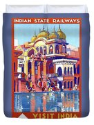 India, Indian State Railway Poster, Muttra Duvet Cover