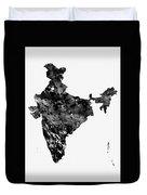 Map Of India-black Duvet Cover