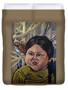 Indian Girl In The Woods Duvet Cover