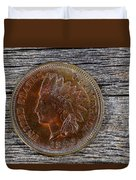 Indian Head Cent In Uncirculated Condition On Old Wood  Duvet Cover
