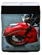 Indian Motorcycle Fender In Red Duvet Cover
