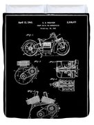 Indian Motorcycle Patent 1943 Black Duvet Cover