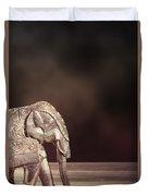 Indian Silver Elephant Duvet Cover