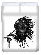 Indian With Headdress Black And White Silhouette Duvet Cover