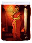Indian Woman In Traditional 9 Yard Saree Duvet Cover