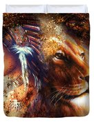 Indian Woman Wearing  Feather Headdress With Lion And Abstract Color Collage Duvet Cover