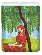 Indian Woman With Weeping Willow Duvet Cover