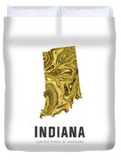 Indiana Map Art Abstract In Gold Yellow Duvet Cover
