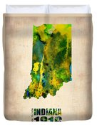 Indiana Watercolor Map Duvet Cover by Naxart Studio