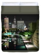 Indianapolis Canal Night View Duvet Cover