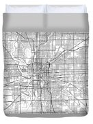 Indianapolis Indiana Usa Light Map Duvet Cover