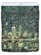 Indianapolis Skyline Abstract 3 Duvet Cover