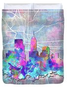 Indianapolis Skyline Watercolor 5 5 Duvet Cover