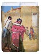 Indians Outside Taos Pueble Duvet Cover