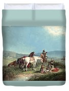 Indians Playing Cards Duvet Cover
