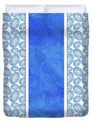 Indigo Amoeba Abstract Tribal Watercolor Duvet Cover