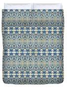 Indigo Ocean - Caribbean Tile Inspired Watercolor Swirl Pattern Duvet Cover