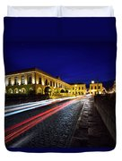 Indigo Sky And Car Lights Over Plaza Espana And Puente Nuevo Bri Duvet Cover