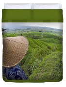 Indonesian Rice Farmer Duvet Cover