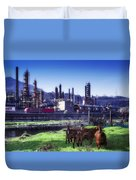Industrial Archeology Refinery Plant With Goats Duvet Cover by Enrico Pelos
