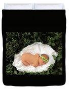 Newborn Infant Lying In Ivy Duvet Cover
