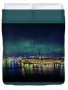 Infinite Aurora Over Stockholm Duvet Cover