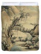Ink Painting Landscape River Duvet Cover