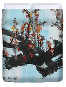 Ink Painting Plum Blossom Blue Duvet Cover