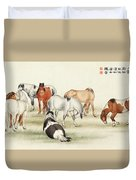 Ink Painting Stud Of Horses Duvet Cover