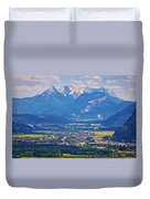 Inn River Valley And Kaiser Mountains View Duvet Cover