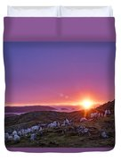 Inquisitive Flock At Dawn, Harris Duvet Cover