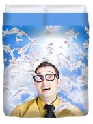 Insane Business Man With Busy Travel Schedule Duvet Cover