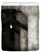 Inside Empty Dark Building With Light Bulbs Lit Duvet Cover