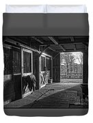 Inside The Horse Barn Black And White Duvet Cover