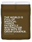 Inspirational Quotes Series 010 Bertrand Russell Duvet Cover