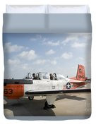 Instructor Pilot And Student In A T-34 Duvet Cover