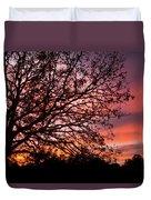 Intense Sunset Tree Silhouette Duvet Cover