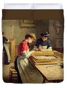 Interior Of A Frame Gilding Workshop Duvet Cover by Louis Emile Adan