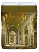 Interior Of St. Peter's - Rome Duvet Cover by Giovanni Paolo Panini