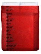International Morse Code - Black On Red Duvet Cover
