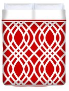 Intertwine Latticework With Border In Red Duvet Cover