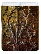 Intricate Wood Carving On Wall Panel At Swannonoa 4407vt Duvet Cover