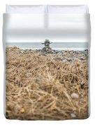 Inukshuk At Lawrencetown Beach, Nova Scotia Duvet Cover