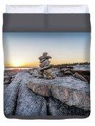 Inukshuk In Terence Bay, Nova Scotia Duvet Cover