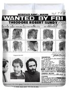 Investigator's Copy - Ted Bundy Wanted Document  1978 Duvet Cover