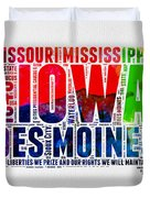 Iowa Watercolor Word Cloud  Duvet Cover